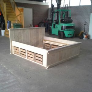 Wooden Scaffolding Bed With Fruit Boxes