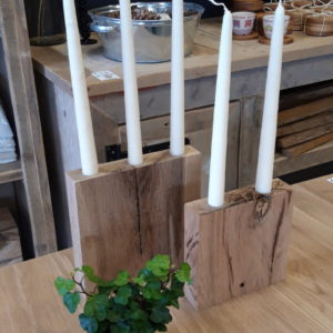 Oak Candle Holders